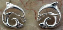 Sterling Silver Artistic Dolphin Post Earrings