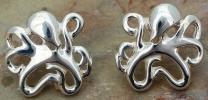 Sterling Silver Artistic Octopus Post Earrings