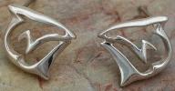 Sterling Silver Artistic Shark Post Earrings