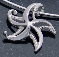artistic sterling silver starfish pendant