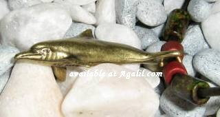 brass dolphin necklace sideview
