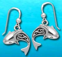Artistic Sterling Silver Shark Earrings DE 902