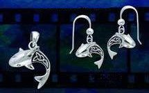 celtic shark pendant earrings set