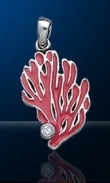 coral sterling silver pendant