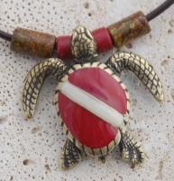 Brass Plated Sea Turtle with Dive Flag Shell Necklace
