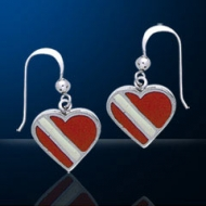 Sterling Silver Dive Flag Heart Earrings