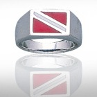 Sterling Silver Dive Flag Ring DDFR 372