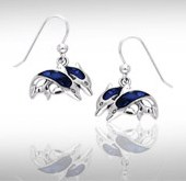 Paua Shell & Sterling Silver Twin Dolphin Earrings DE 822