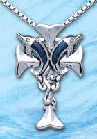 Sterling Silver Dolphin Cross Pendant DP 7315