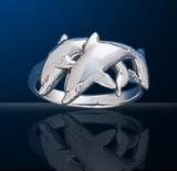 Sterling Silver Twin Dolphin Ring DDDR 520