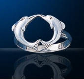 sterling silver kissing dolphin ring