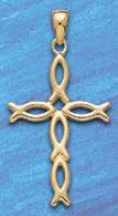Jesus fish cross pendant DP 408 in gold
