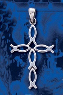 sterling silver fish cross pendant DP 408