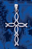 sterling silver fish cross pendant DP 408