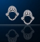 sterling silver shark jaw stud earrings DE 8119
