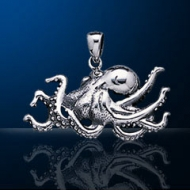 Sterling Silver Giant Pacific Octopus Pendant