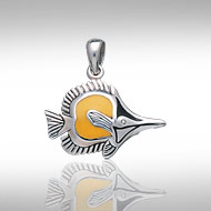 Sterling Silver Yellow Longnose Butterflyfish Pendant DP 7916