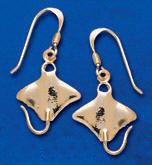 Manta Ray Earrings DE 396 in gold