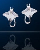 Sterling Silver Manta Ray Post Earrings DE 692