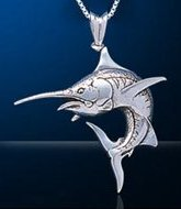 Sterling Silver Marlin Necklace DP 886