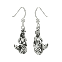 sterling silver mermaid dangle earrings DE 996