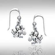 sterling silver octopus earrings DE 4204