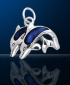 Paua Shell Sterling Silver Twin Dolphin Charm