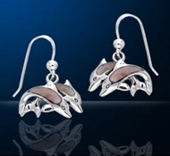Sterling Silver Kissing Dolphin Earrings DE 8208