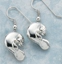 sculptural sterling silver manatee earrings
