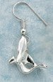 sculptural silver shark earrings single