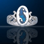 sterling silver seahorse ring DFR 0331