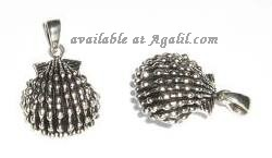 seashell sterling silver pendant DP 110 - front and side view