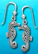 Celtic Sterling Silver Seahorse Earrings DE 303