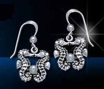 Sterling Silver Kissing Seahorse Earrings DE 8255