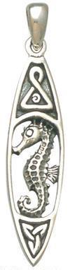 Sterling Silver Surfboard Seahorse Pendant DP 8215