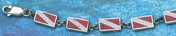 Sterling Silver Dive Flag Bracelet DB 822