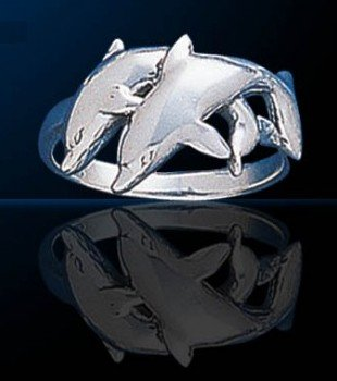 sterling silver double dolphin ring