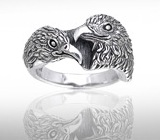 Sterling Silver Eagle Couple Ring DER 614