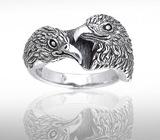 Sterling Silver Eagle Couple Ring DER 614