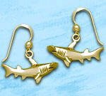 Sterling Silver Hammerhead Shark Earrings DE 4257 in gold