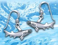 Sterling Silver Hammerhead Shark Earrings DE 4257