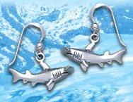 Sterling Silver Hammerhead Shark Earrings DE 4257