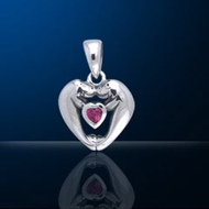 Sterling Silver Manatee Couple Pendant DP 600