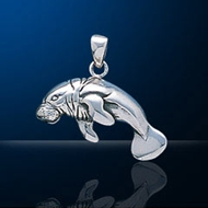 Sterling Silver Manatee Pendant DP 969