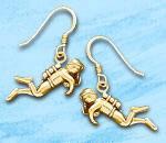 Scuba Diver Earrings SDE 220 in gold