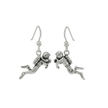 Sterling Silver Scuba Diver Earrings
