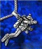 sterling silver scuba diver necklace