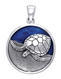 Sterling Silver Nesting Sea Turtle Pendant DP 2310