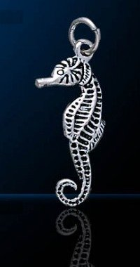 Sterling silver seahorse charm vintage # 643