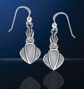 Sterling Silver Squid Earrings DE 3132